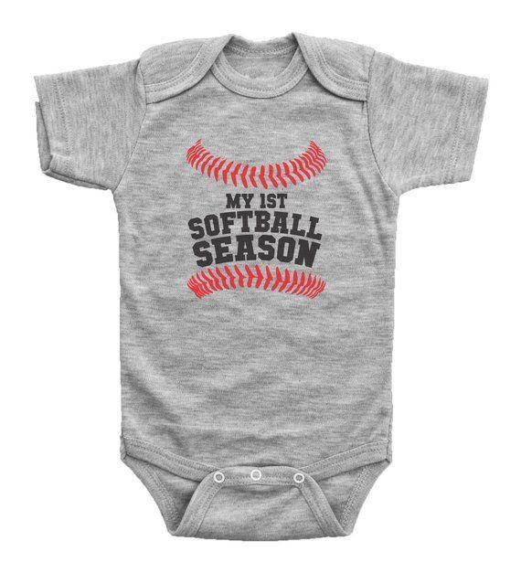 fba08355e Baby Softball Onesie, My 1st Softball Season, Softball Baby Bodysuit,  Newborn Softball Outfit, Softb