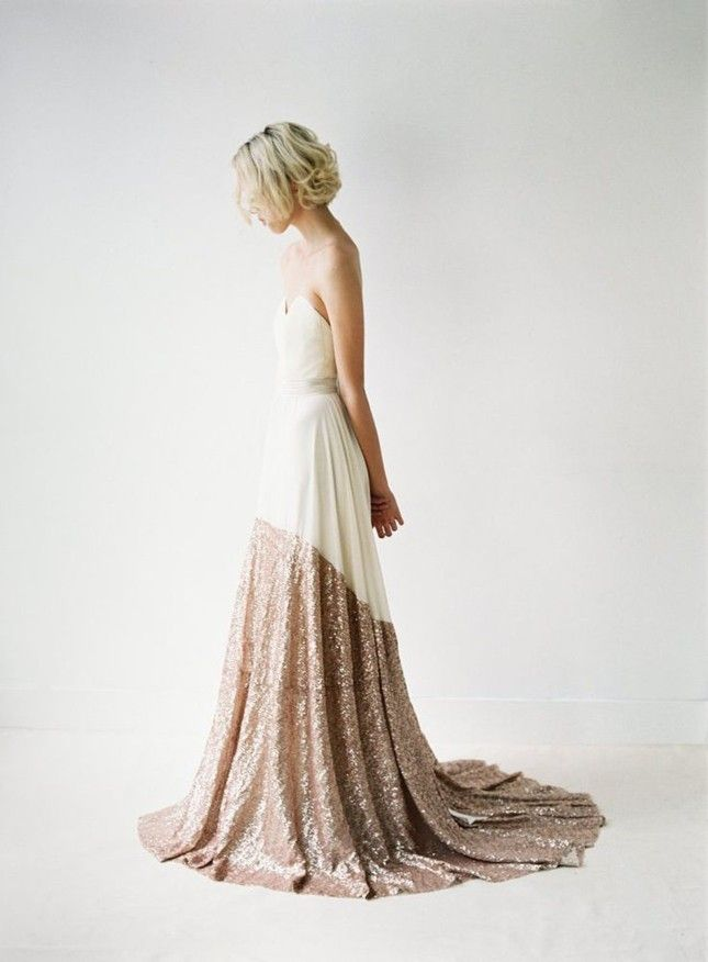 Can't commit to a white wedding? This white + gold wedding dress is equal parts classic + party animal.