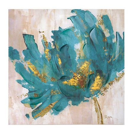 Turquoise and gold flower canvas art print flower canvas for Gold paintings on canvas