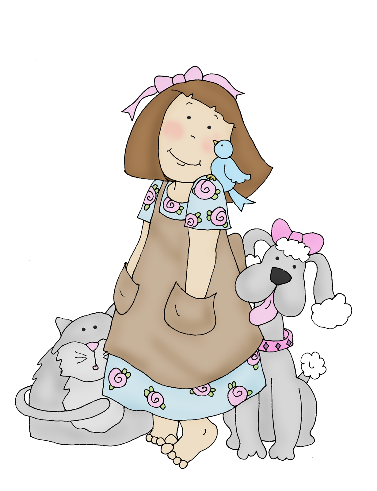 Free Dearie Dolls Digi Stamps: Girl with Pets