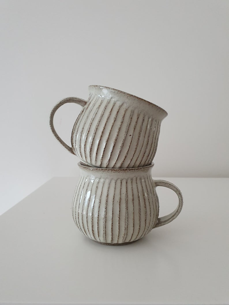 Set of 4 White Ceramic Tea Mugs, Pottery Coffee Cups with Handles