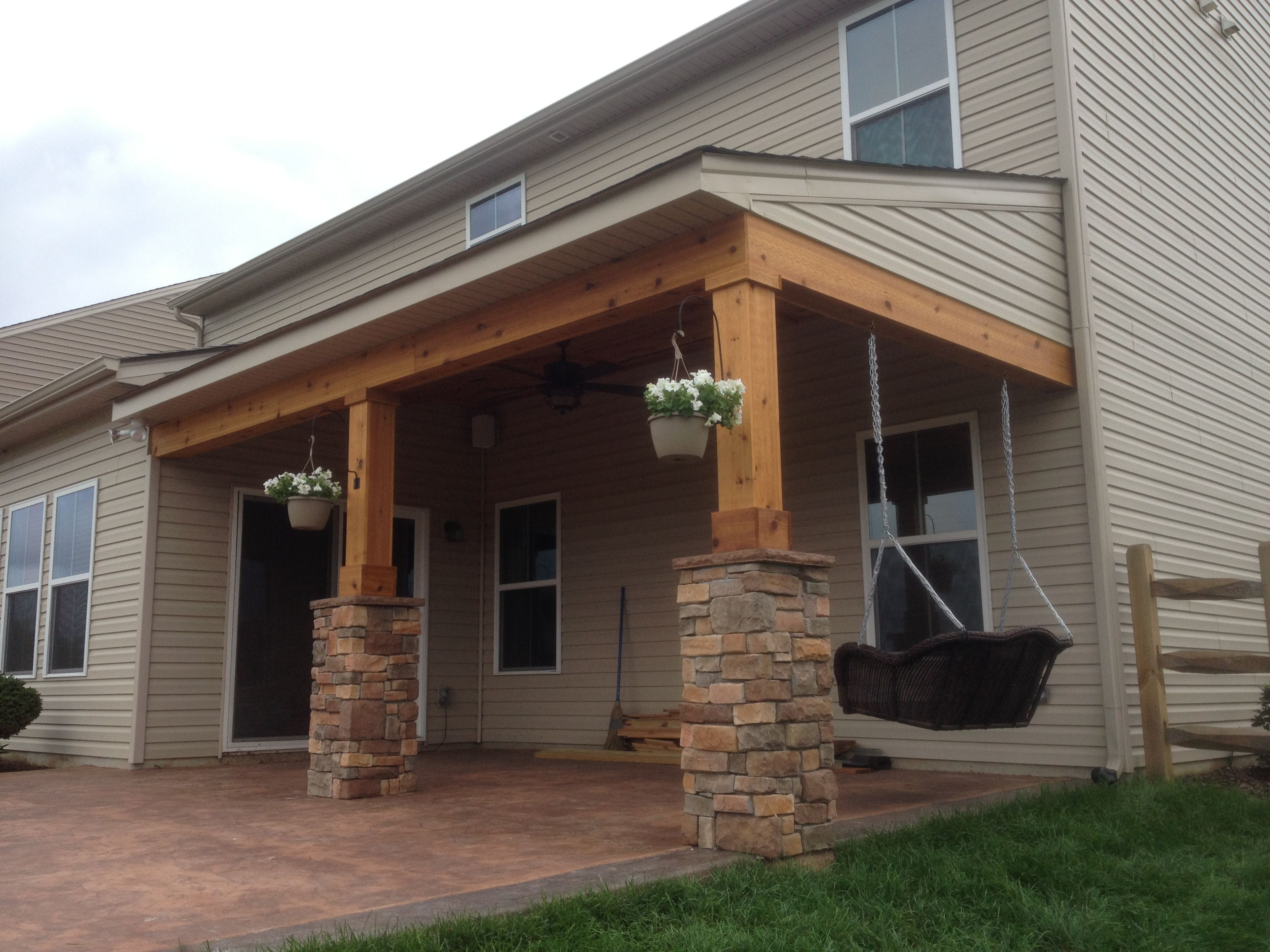 Covered Porch All Cedar Trim And Cedar Tongue And Groove Ceiling With Stone  Columns,ceiling