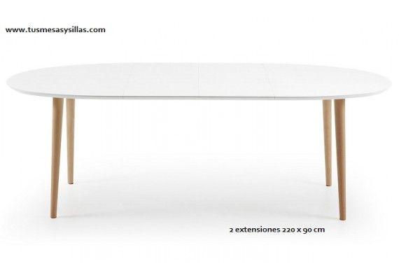 mesa ovalada Oakland extensible de estilo nordico para cocina o ...