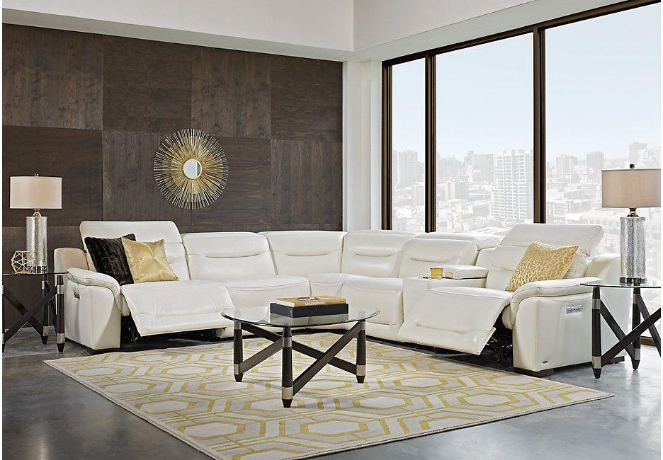 Sofia Vergara Gallia White Leather 6 Pc Power Plus