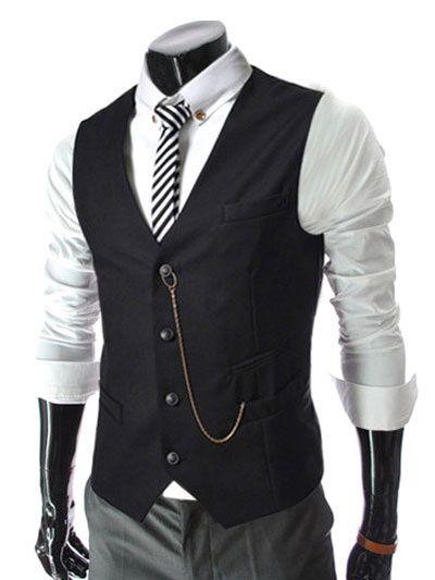 0fe25b17d6 Men Cotton Waistcoat Pocket Business Casual Suit Vest 2019   Men ...