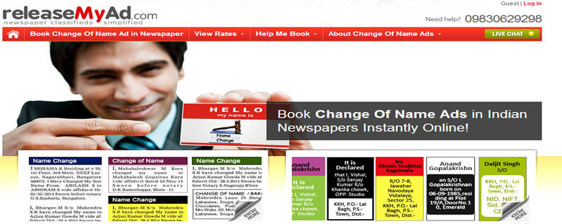 Now book your personal and name change ads online in