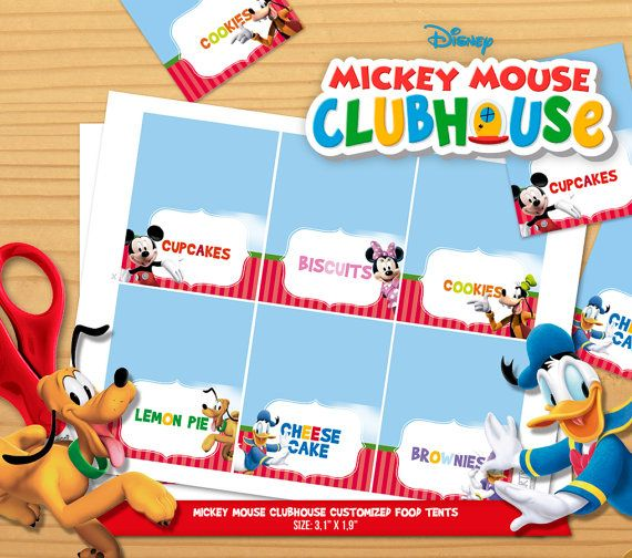 Personalized Mickey Mouse Clubhouse food label tent (digital file)  sc 1 st  Pinterest & Personalized Mickey Mouse Clubhouse food label tent (digital file ...