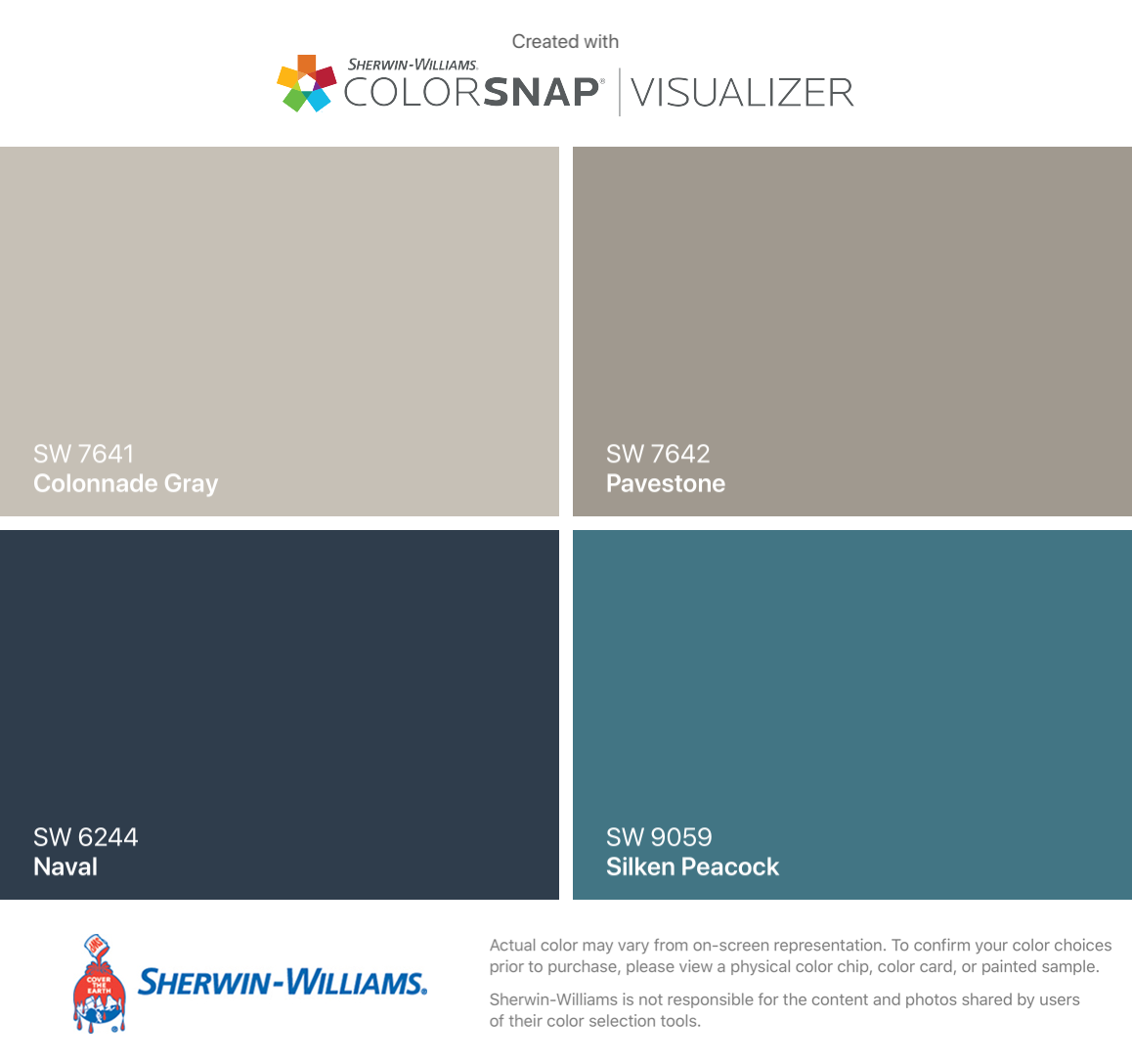 I found these colors with ColorSnap® Visualizer for iPhone by Sherwin-Williams: Colonnade Gray (SW 7641), Naval (SW 6244), Pavestone (SW 7642), Silken Peacock (SW 9059). #cityloftsherwinwilliams