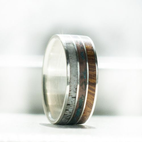Elk antler patina copper and wood ring available in silver gold