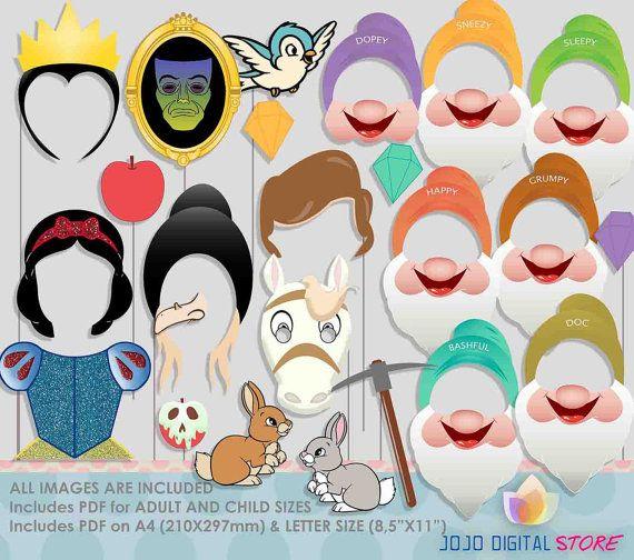 Princess Snow Photo Booth Props | Blancanieves, Cumpleaños y Fiestas