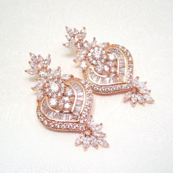 Rose Gold Bridal Ohrringe Ohrringe Hochzeit von treasures570