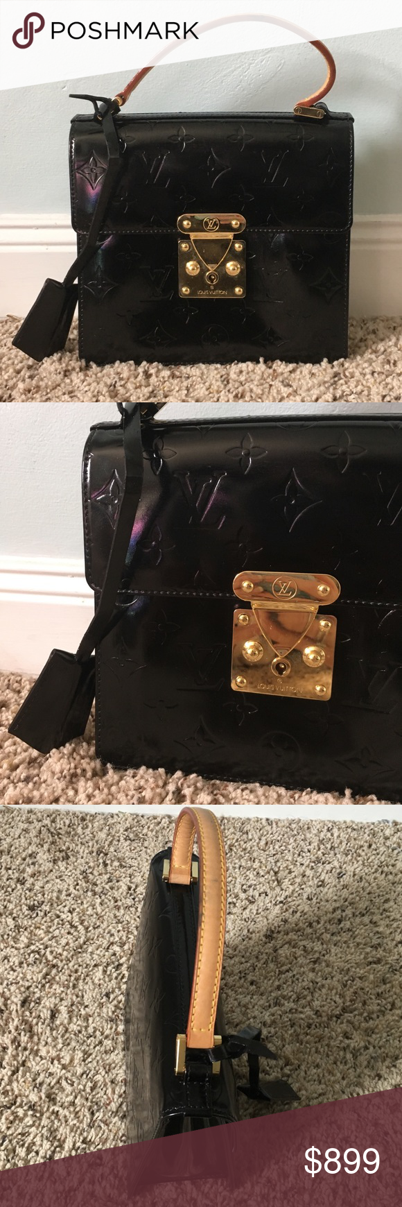 5e0ccd01eb803 Authentic LV Spring Street Vernis Mini Bag Authentic Louis Vuitton spring  street Vernis. Refurbished black patent leather