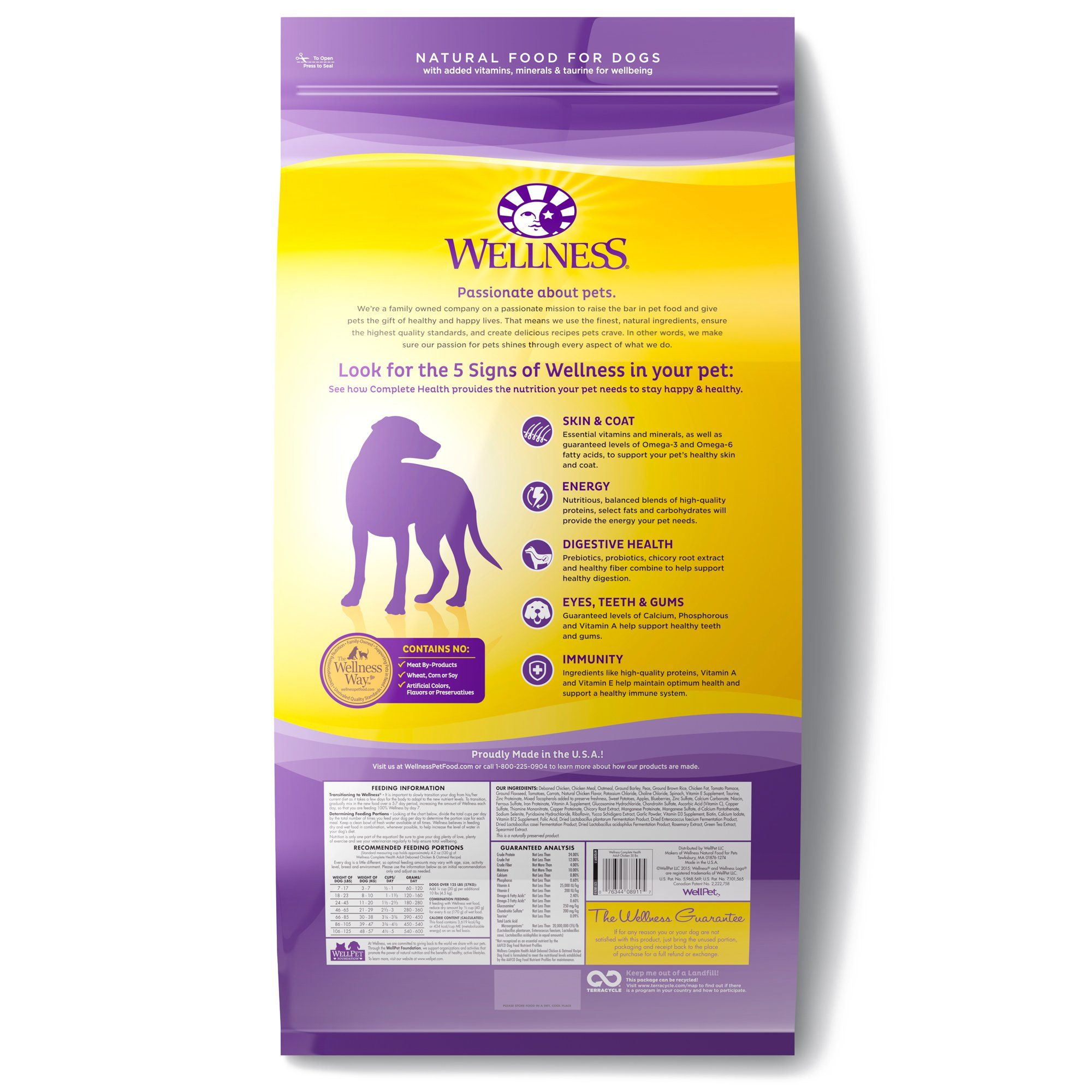 Wellness Complete Health Natural Dry Dog Food Chicken And Oatmeal