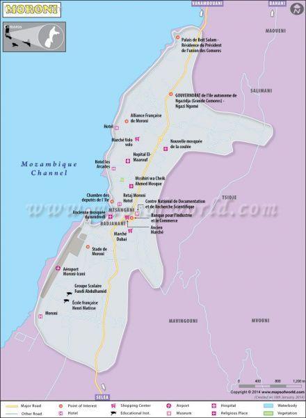 nice Map of Moroni Capital of Comoros Travelquaz Pinterest