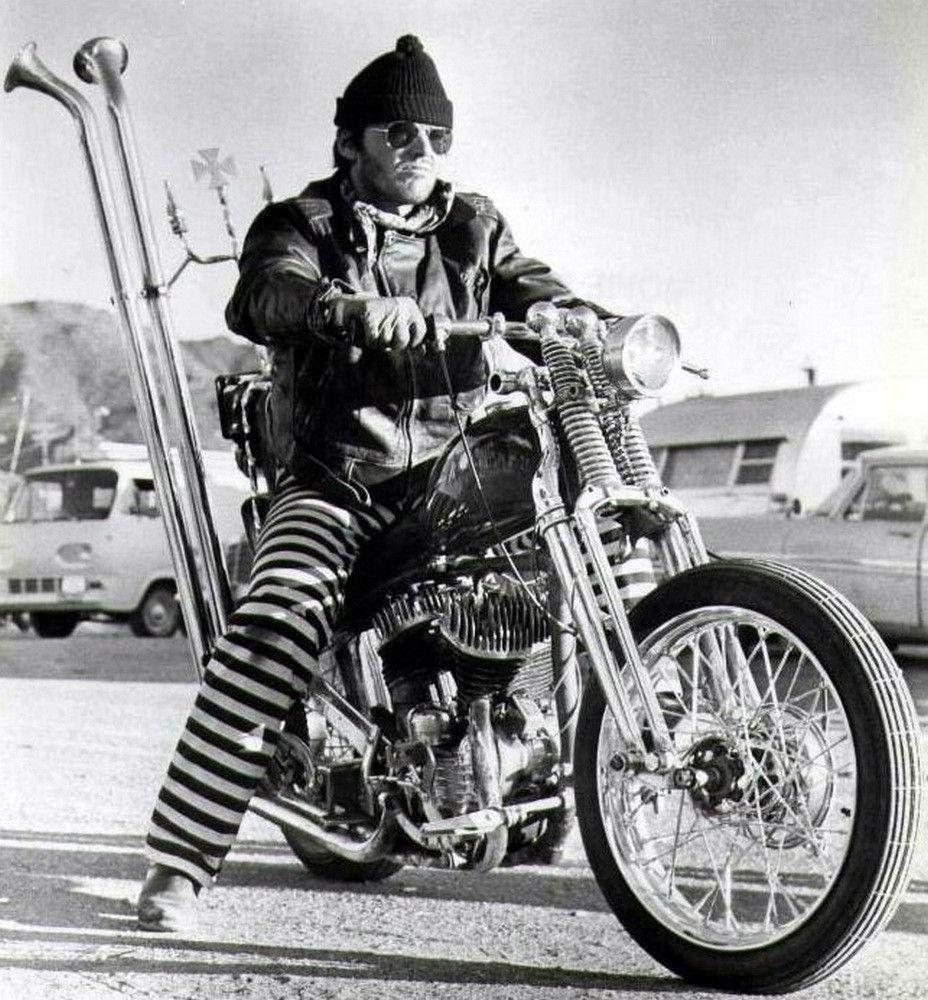 "Jack Nicholson on a '45 Flathead Harley Bobber (with Springer forks) in ""Rebel Rousers"". 1971 - Imgur"