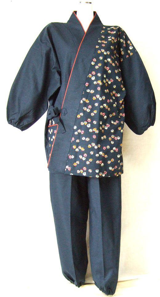 オシャレな小紋柄 片身切替えのデザイン 女性用作務衣 4柄 彩りカラー m寸l寸 着物リフォーム 女性 着物