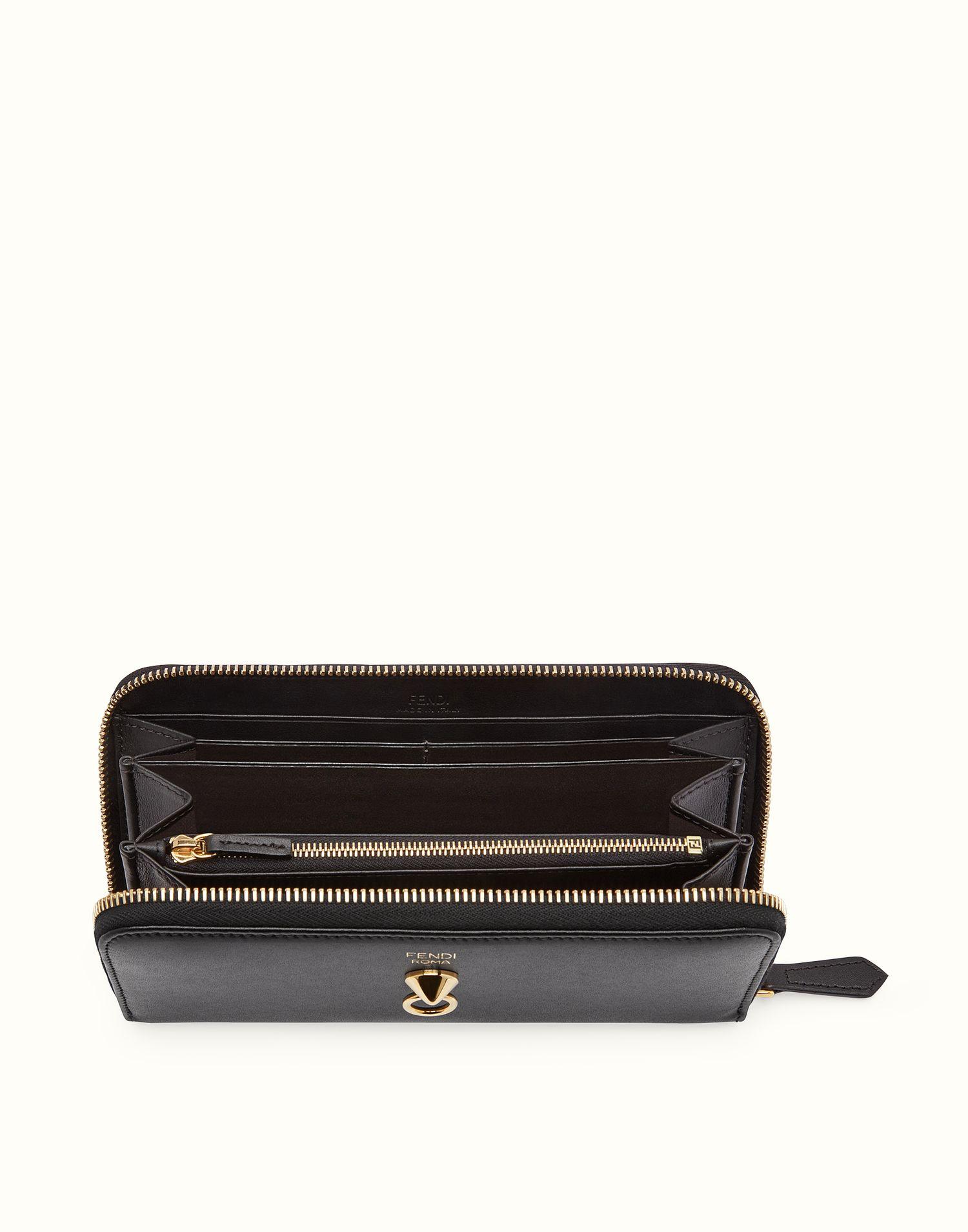 $600 FENDI WALLET - Black leather zip-around