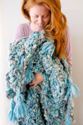 The Snuggle Up Tassel Blanket Pattern By Knit Collage Chunky Knit