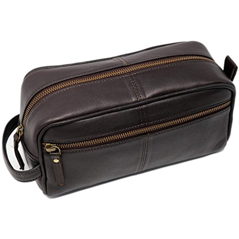 Men/'s Toiletry Bag Leather Travel Dopp Organizer Grooming Shave Kit Black New