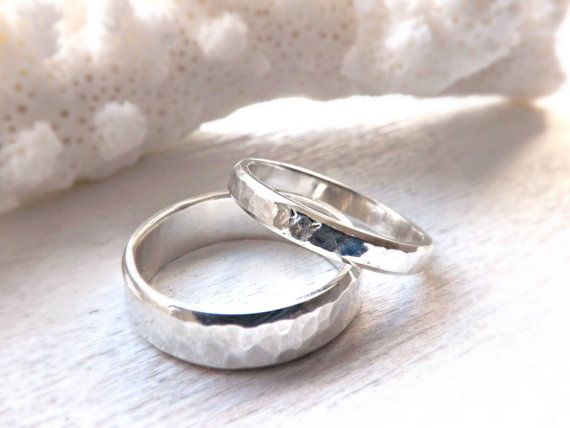 rustic silver ring set with gemstone rustic wedding by crazyassjd - Rustic Wedding Rings