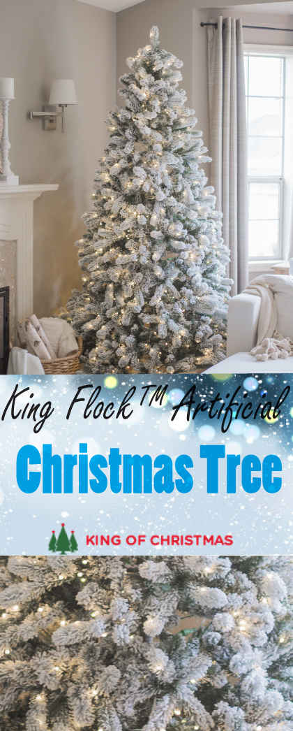 7 5 Foot King Flock Artificial Christmas Tree With 800 Warm White