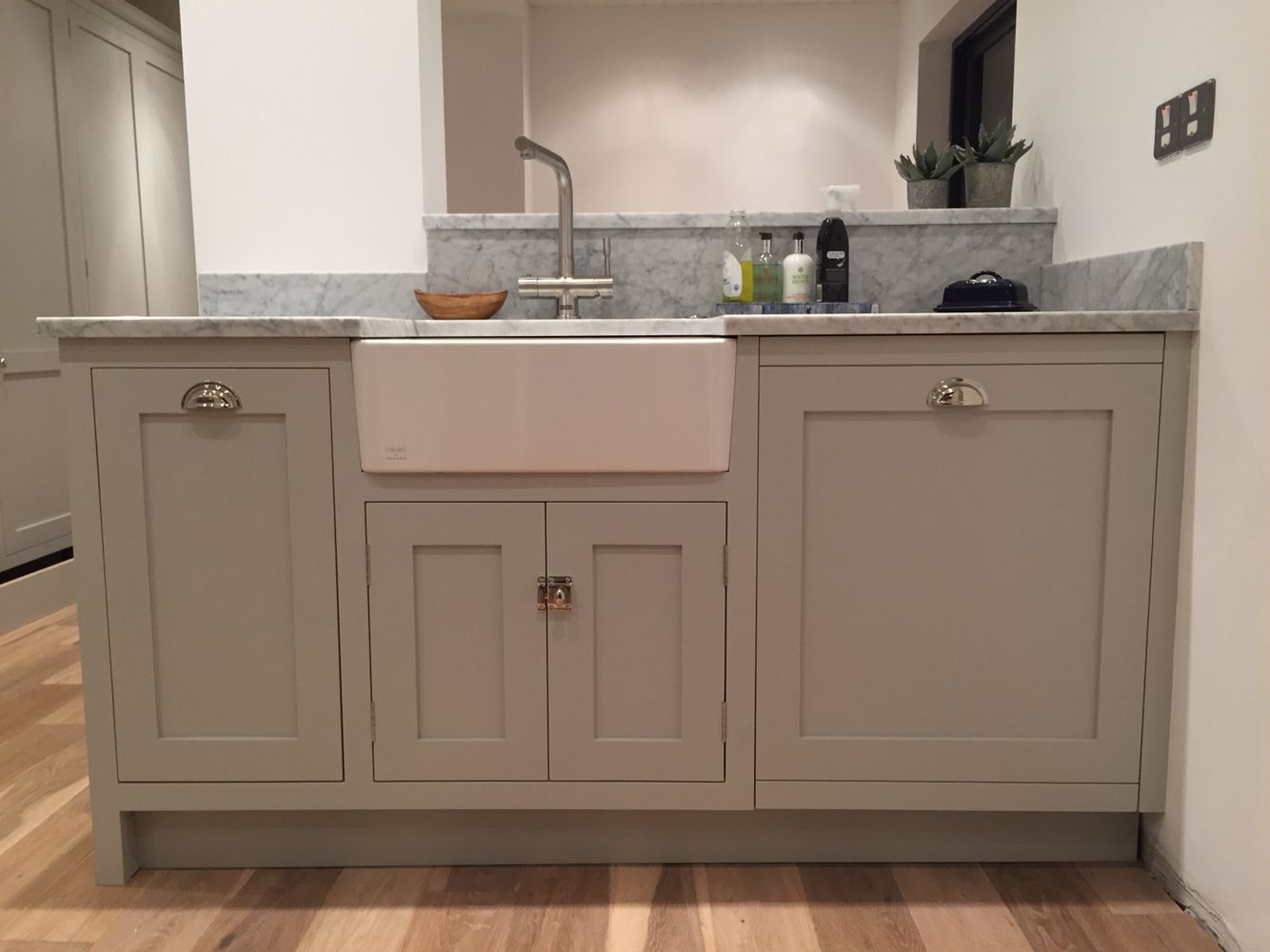 Best Pavilion Grey Kitchen With Carrara Counter Tops Grey 400 x 300