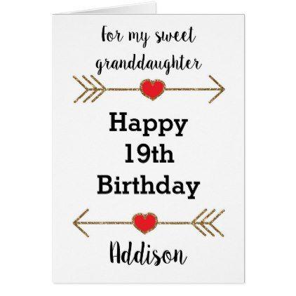 Happy 19th Birthday Granddaughter Card Birthday Cards Pinterest