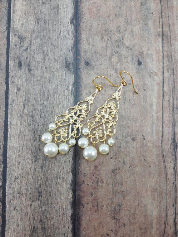 Chandelier Wedding Earrings 14K Gold Bridal Earrings by ABbling. Bride, Bridesmaid Jewelry