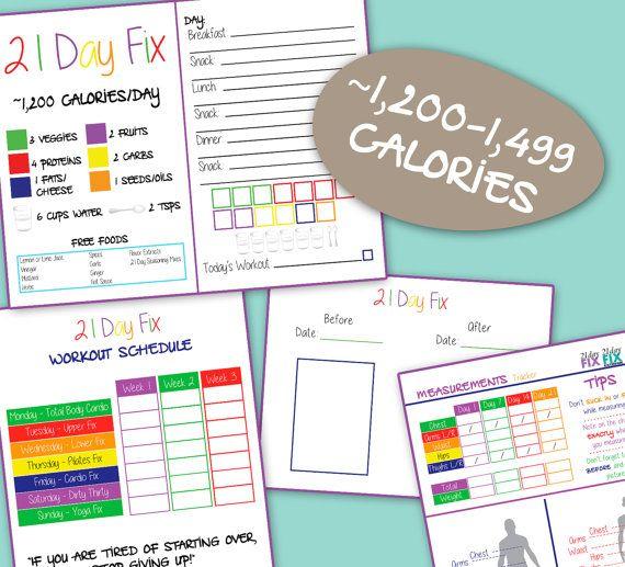 21 Day Fix Bundle Pack - 1,200 Calorie Bracket - Food Tracker