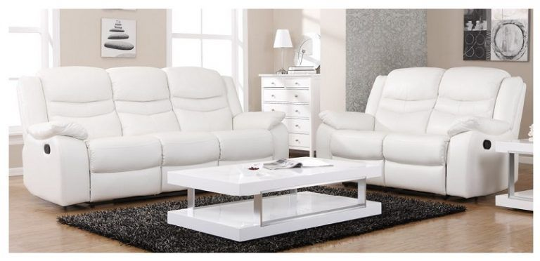 White Leather Sofa With Recliners