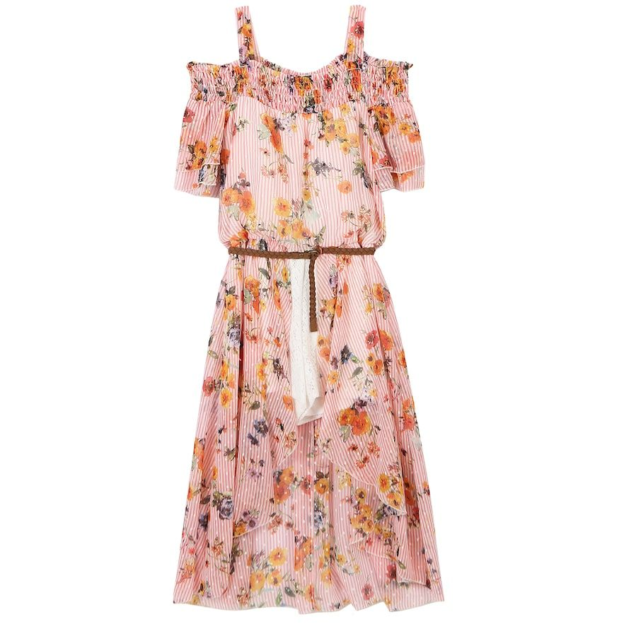 419b9cf9 Girls 7-16 Speechless Floral & Striped Cold Shoulder Belted Walkthrough  Dress, Size: 12, Med Pink
