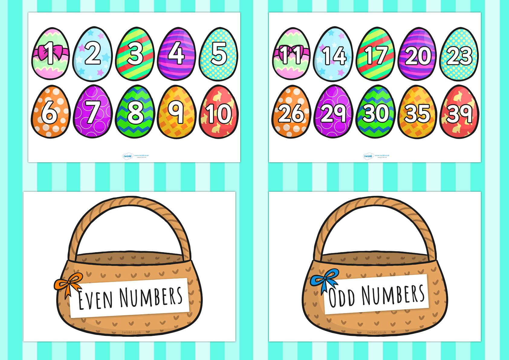 Odd And Even Number Egg Differentiated Sorting Activity