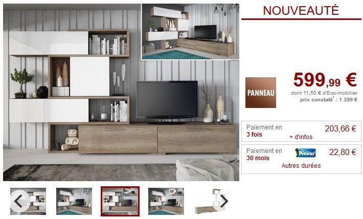 Mur TV modulable avec rangements NICOSIA pas cher Chêne  blanc prix