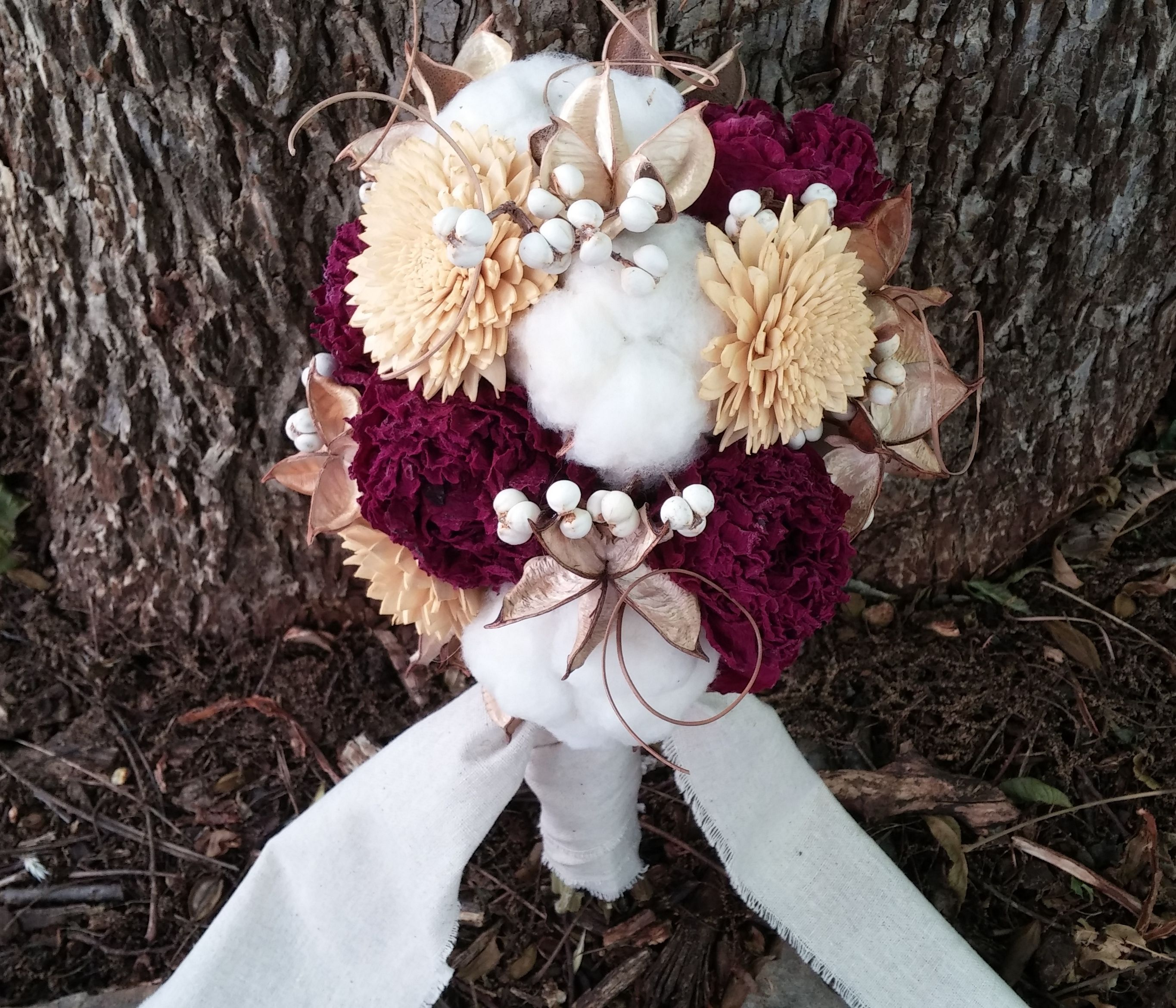 Burgundy peony and cotton bridal bouquet with sola flowers tallow burgundy peony and cotton bridal bouquet with sola flowers tallow berries and curly ting wrapped in linen fabric izmirmasajfo