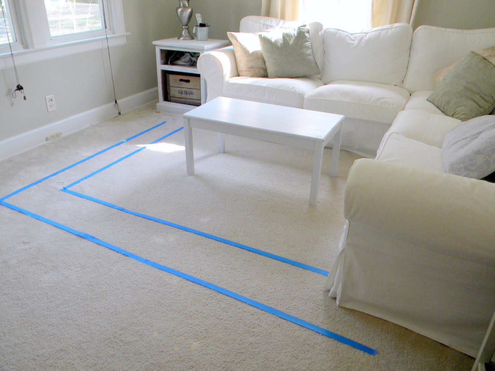 Just Like Paint Testing Tape Off Area To See What Size Rug You Would Prefer For Your Room Smaller One Is And Larger Taped Via Fingerprints On