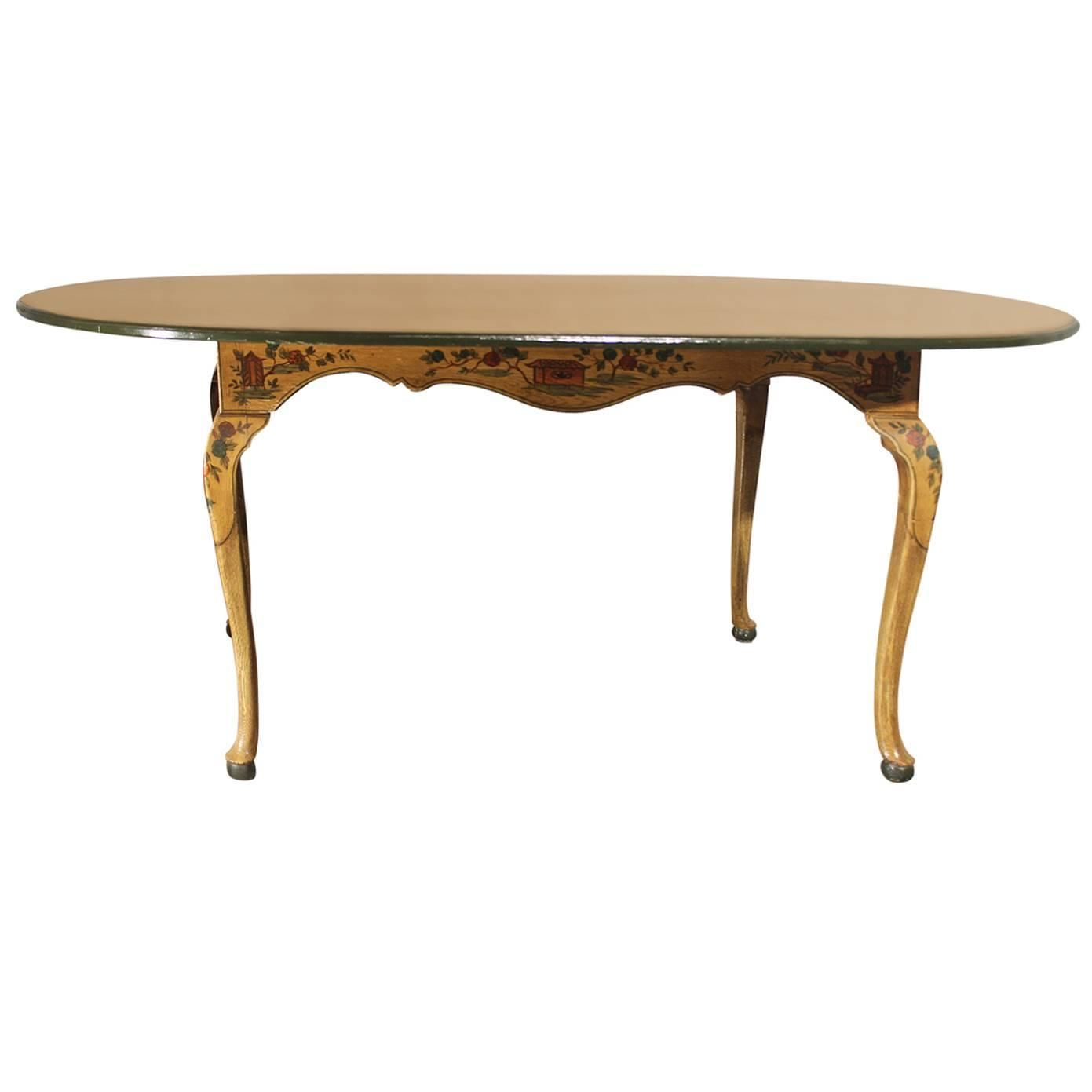 Antique Chinoiserie Hand Painted Oval Dining Table with Cabriole