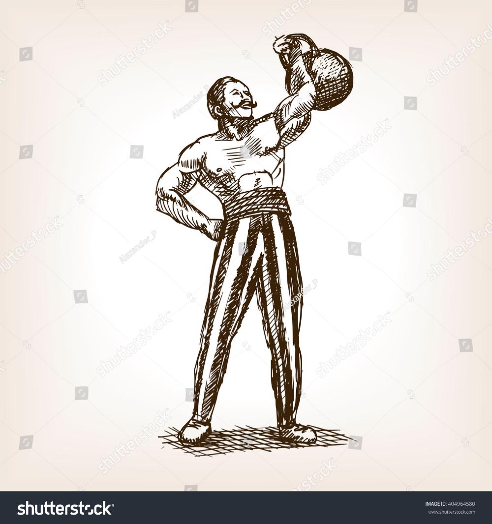 Strong Man Kettlebell Sketch Style Vector Stock Vector Royalty Free 404964580 Novye Tatuirovki Girya Tatu