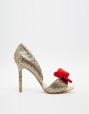 Peep toe shoes, Glitter shoes, Bow shoes
