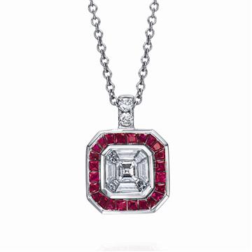 Amazing mosaic diamond asscher, baguette, French carree cut square princess diamond halo necklace   from Armadani- P15307/RU