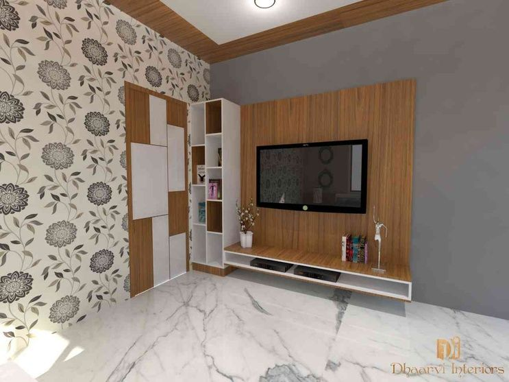 LED Unite Shelves And Wallpaper In Living Area By Sasimanojkumar Karpurapu Interior Designer Contemporary DesignIndian