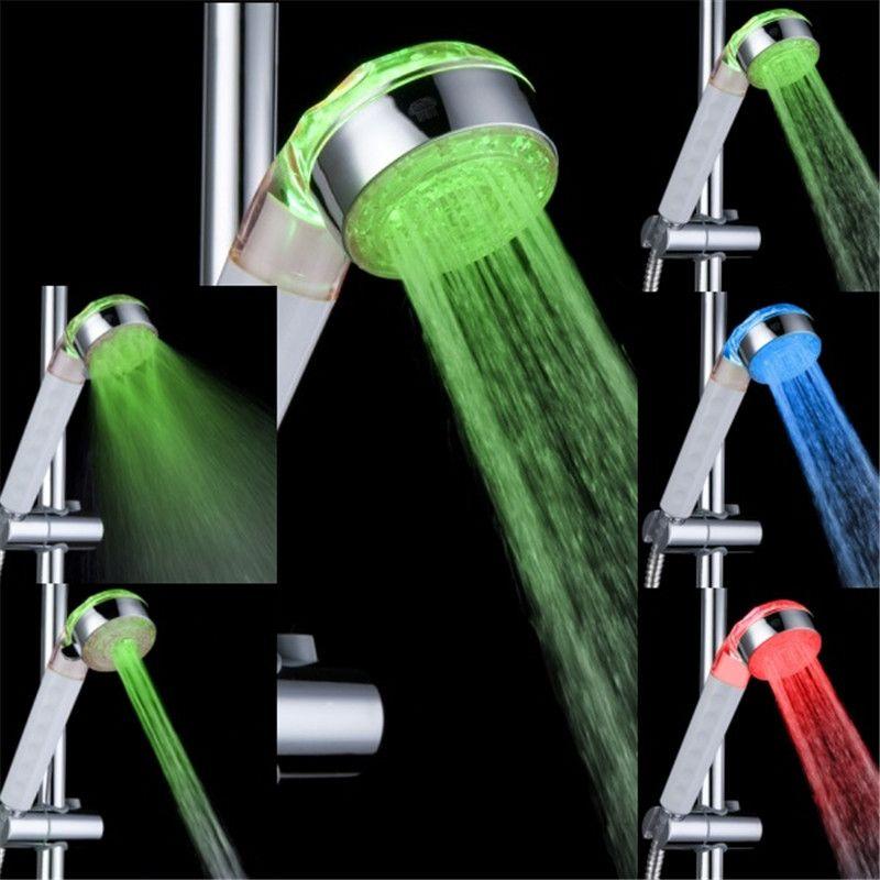 Adjustable 3 Mode 3 Color LED Shower Head Temperature Sensor RGB Bath