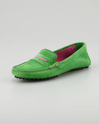 c8246f38811cf Manolo Blahnik Terry-Trimmed Suede Driver, Green/Fuchsia - Neiman Marcus  (Love the color combo!)