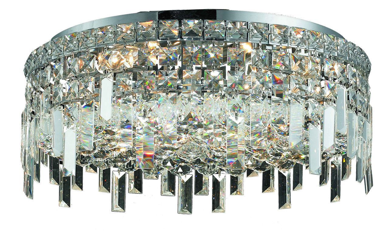 Maxim 6 Light Crystal (Clear) Flush Mount in Chrome Finish 2031F20C ...