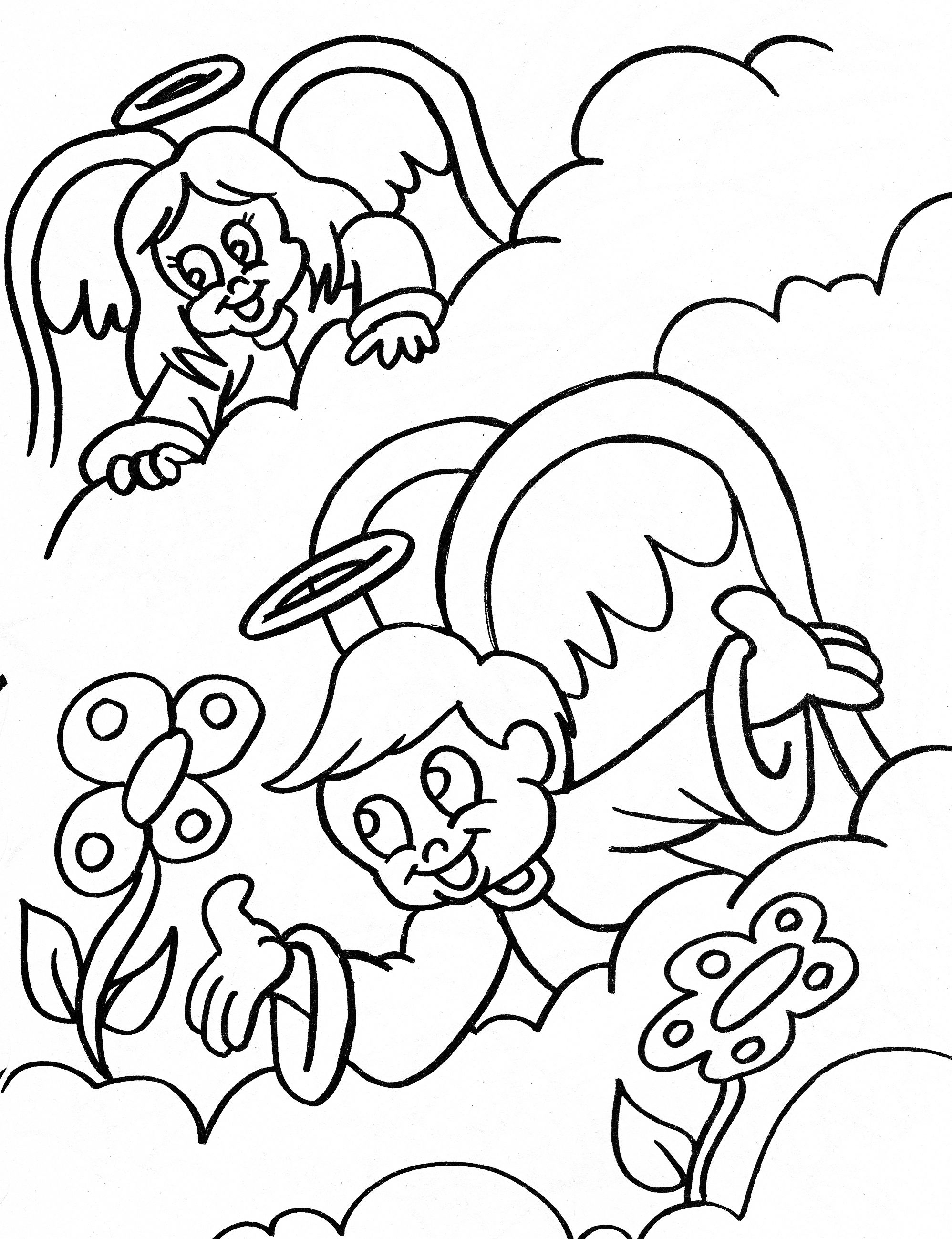 Angel Coloring Page Boy And Girl Angel And Flowers In The Clouds Angel Coloring Pages Cool Coloring Pages Coloring Pages