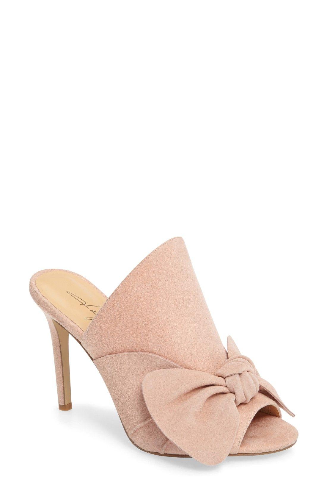 blush pink bow mules