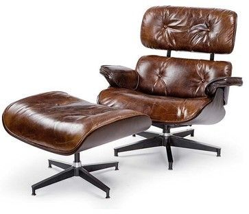 Etonnant Leather Lounge Chair With Ottoman