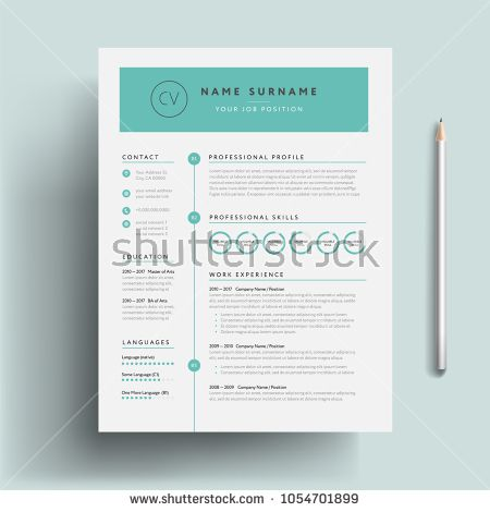 Creative CV resume template teal green background color cool