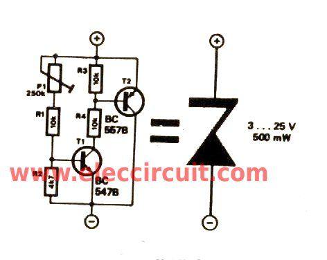 variable zener diode circuit adjust voltage output eleccircuit rh pinterest com Zener Diode Voltage Zener Diode Tutorial