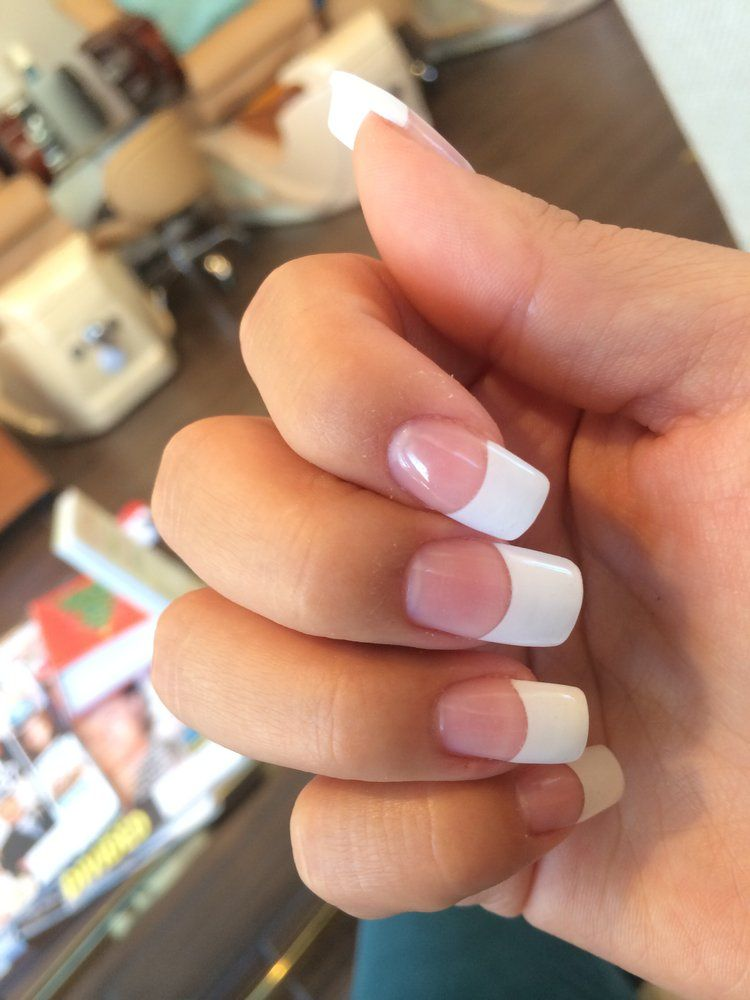 French Tip Acrylics With Gel Too Coat Yelp French Tip Acrylic Nails French Tip Nails White Acrylic Nails