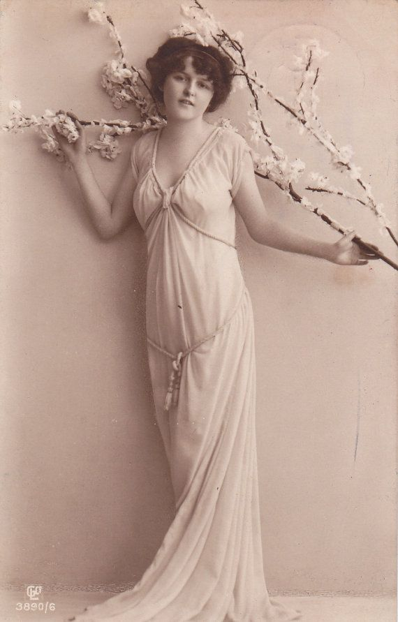 Lovely Edwardian Lady with Tree Blossoms..circa 1908